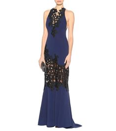 Navy and black lace and crêpe gown