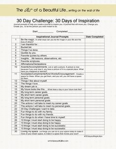 30 Day Challenge - Inspirational Journal - 30 Days of Inspiration | artofabeautifullife.com