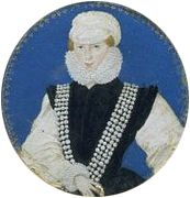 A portrait miniature of Mary Dudley, Lady Sidney by Leevina Teerlinc. Mary was the sister of Queen Elizabeth's dearest friend and companion, Robert Dudley, Earl of Leicester. Mary also enjoyed a close relationship with the Queen, even nursing her through her illness with smallpox. She was scarred as a result, and left court, but the Queen, full of gratitude, provided her with a pension.