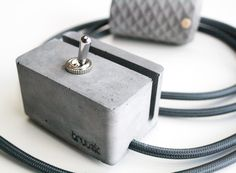 Handcrafted concrete pendant lamp and concrete switch with stylish textile cord.  dark grey + anthracite