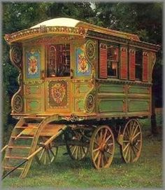 Gypsy caravan WAGON FOR FORTUNE TELLING.I was fascinated by Gypsy vans as a child.as an adult I loved Juliette De Bairacli Levy Herbal Lores of the Gypsy's lives.One of the reasons I became a Herbalist was reading her books so inspired me. Gypsy Life, Gypsy Soul, Arte Punch, Atelier D Art, Deco Boheme, Vintage Trailers, Vintage Caravans, Vintage Campers, Classic Trailers