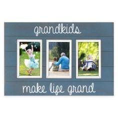 "Oracoke Sentiments 3-Photo ""Grandkids"" Collage Frame in Blue - BedBathandBeyond.com"