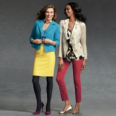 What's the Bright Idea?? YOU! This fall is all about head-turning-hues like the  Curry Skirt (Left) and the Crimson Cords (Right)