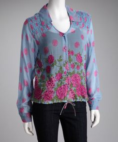 Take a look at this Blue Floral Sheer Long-Sleeve Top by Papillon Imports on #zulily today!