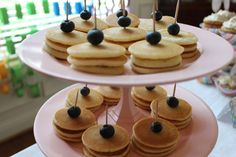Cute way to serve homemade mini pancakes for a sleepover or a brunch type event.