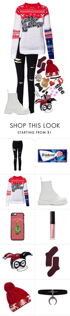 """""""Marry Christmas Puddin! //12 days of fandoms"""" by lostinthecosmics ❤ liked on Polyvore featuring Miss Selfridge, Dr. Martens, Laura Mercier, Monki, WithChic, Sony and 12daysoffandoms"""