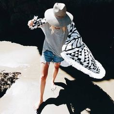 Afternoon adventures. Shop the Aztec Roundie for your next beach day at thebeachpeople.com.au/shop/aztec/ #thebeachpeople