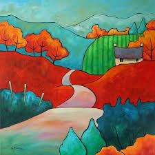 Gillian Mowbray, Days of Amber by doris Art And Illustration, Silk Painting, Painting & Drawing, Landscape Art, Landscape Paintings, Art Paintings, Art Populaire, Naive Art, Art Plastique