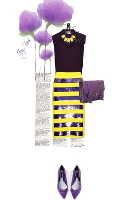 """Marc Jacob strip skirt"" by ivybui on Polyvore"