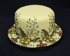 Modern piped  cake fondant covered cake - all work royal icing