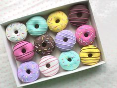 Set of 12 Polymer Clay Doughnut Sewing Pattern Weights Great
