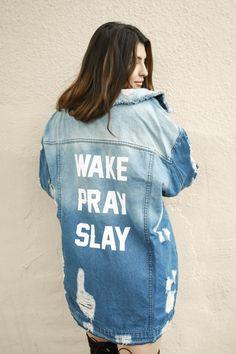 Wake Pray Slay Denim Jacket