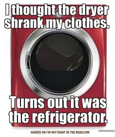 People think their clothes dryer shrinks clothes. They are right some of the time. It usually is the refrigerator that causes clothes to shrink. How To Shrink Clothes, Diet Jokes, Weight Loss Humor, Lose Belly, The Funny, True Stories, Sarcasm, I Laughed, Laughter