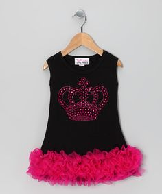Take a look at this Black Crown Ruffle Dress - Infant, Toddler & Girls by Girly Flair on #zulily today!
