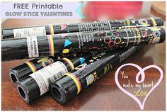 "Free printable! ""You make my heart glow"" Glow Stick valentines!"