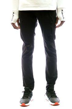 KLEEP KLEEP PREMIUM LIGHT WASHED LYCRA TWILL PANTS IN BLACK