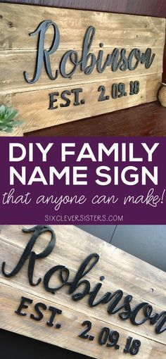 This family name sign is BUDGET FRIENDLY! Anyone can make this, and it only costs a couple dollars! No pricey wood letters for your last name ! gift wood DIY Family Name Sign that Anyone Can Make! - Six Clever Sisters Family Wood Signs, Diy Wood Signs, Family Name Signs, Homemade Wood Signs, Pallet Signs, Outdoor Wood Signs, Family Names, Metal Signs, Beach House Style