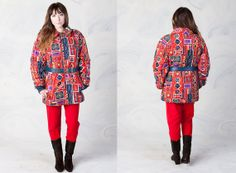 Wow.  The print on this is amazing. Made in St. Paul, MN.  [VINTAGE 70's retro geometric winter ski lodge coat by foxandfawns, $118.00]