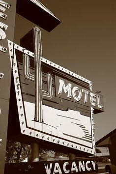 Route 66 - Western Motel, Sepia. Neon sign on old Rt. 66 in Sayre, Oklahoma.