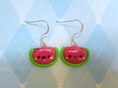 Kawaii Watermelon Earrings Polymer Clay Fimo Jewelry via Etsy