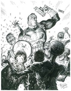 Punisher Killin Zombies by Tony Moore Comic Art