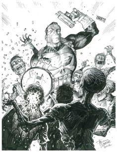 Punisher Killin Zombies by Tony Moore Comic Art