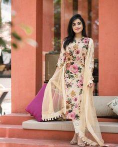 Bollywood Look Designer Beautifull Cream Flower Print Kurti | Etsy