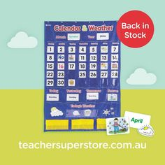 BACK IN STOCK: Calendar and Weather Chart with Pockets This heavy duty vinyl pocket chart will make teaching students about the monthly calendar and the daily weather a breeze. Daily Weather, Todays Weather, Teaching Aids, Student Teaching, Numbers 1 100, 100 Chart, Magazine Pictures, Make Your Own Card, Type Posters