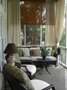 If we can't put up the pallet walls, maybe hang outdoor curtains to change the look of the hideous white walls