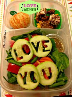 Love note salad... cute idea if he likes salad for lunch!