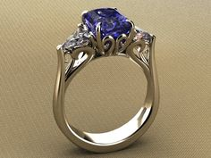 4ct. Sapphire and diamond ring