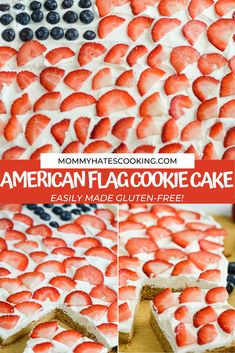 The perfect patriotic dessert with this American Flag Cookie Cake with fruit. This cake can be made gluten-free or gluten-filled too, it's up to you!