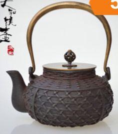 Basket weave iron teapot