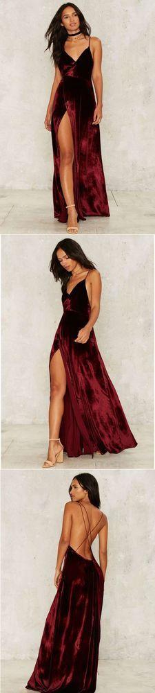Modest Prom Dress,2017 New Prom Dress,Long Prom Dresses,Burgundy Evening Dress,Sexy Spaghetti Straps Slit Evening Dress: