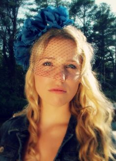 Blue flower crown with veil studded flower crown by Beyondaveil, $112.00