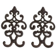Comfify Cast Iron Vintage Double Wall Hook | Decorative Wall Mounted Coat Hanger | with Screws and Anchors - Set of 2