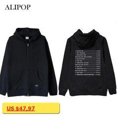 ALIPOP Kpop EXO The Elyxion Album Hoodie Hip Hop Casual Cotton Zipper Hoodies With Hat Printed Long Sleeve Sweatshirts WY601