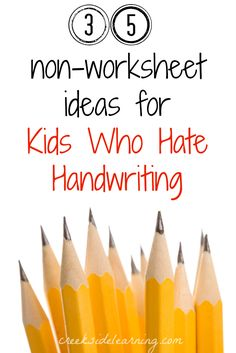 35 handwriting activities for kids who hate handwriting but need the practice--without worksheets. Find a pen pal, make a sensory handwriting tray, make lists, and Pre Writing, Teaching Writing, Teaching Tips, Writing Centers, Literacy Centers, Learning Activities, Kids Learning, Activities For Kids, Therapy Activities