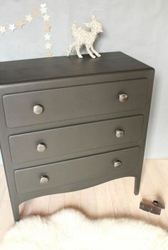 commode vintage noire trois tiroirs TRENDY LITTLE 6