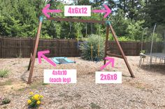 DIY Swing Set - How to Easily Build Your Own How to build a DIY Swingset that kids and adults both can enjoy! DIY Swing Set for kids (and adults too). A simple and easy building idea for a sturdy swing set that you can build for less money than buying. Build A Swing Set, Wood Swing Sets, Swing Set Plans, Swing Sets For Kids, Diy Swing, Backyard Swing Sets, Backyard For Kids, Backyard Projects, Diy For Kids