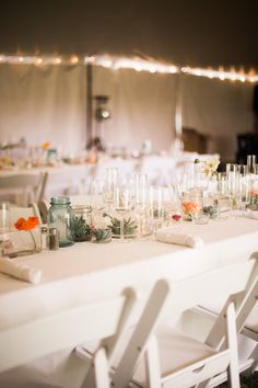 Tented Wedding Reception with Long Tables