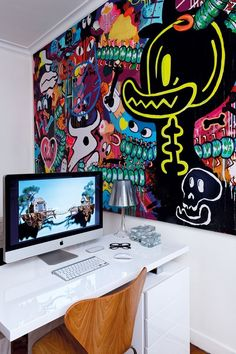 Graffiti Bedroom, Graffiti Wall Art, Mural Art, Wall Murals, Home Room Design, Home Office Design, Wall Drawing, Gamer Room, Hippie Art
