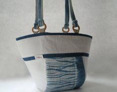 Shoulder Bag, Indigo Blue, Japanese Shibori, Hand Dyed, Handbag, Tote Bag, Natural Indigo, Shibori Dye, Aizome, Something Blue