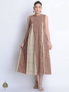 Beige-Red Natural Dyed Bagru Printed Cotton Dress