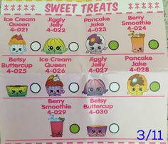 Shopkins Season 4 Checklist Sweet Treats 3 To My Daughter