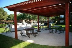 Picnic and deck view at The Indian Creek Apartments in Carrollton, TX Indian Creek, High Resolution Photos, Apartments, Pergola, Picnic, Deck, The Unit, Tours, Outdoor Structures