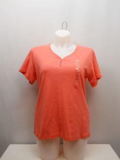 PLUS SIZE 1X 2X 3X Womens Knit Top KAREN SCOTT Solid Coral Short Sleeves V-Neck #KarenScott #KnitTop #Casual
