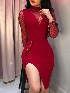 Sheer Mesh Insert Slit Bodycon Dress Fashion Trends, Styles and Tips for dresses Modest Women in 2018 dresses For Teens dresses Formal womens fashion dresses Summer ,dresses Cute Tight Dresses, Sexy Dresses, Evening Dresses, Formal Dresses, Classy Dress, Classy Outfits, Classy Chic, Work Outfits, Chic Outfits