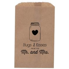 Rustic Wedding Favor - Mason Jar, treat Bag, Favor Bag, Candy Bar Bag, hearts, hugs and kisses, custom paper bag, kraft paper bag on Etsy, $40.00