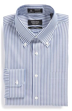 Nordstrom Smartcare™ Wrinkle Free Traditional Fit Stripe Dress Shirt available at #Nordstrom #Fall #NavyStripe